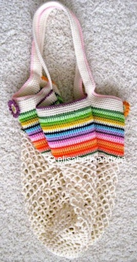 mesh and stripes bag by elisabeth andrée