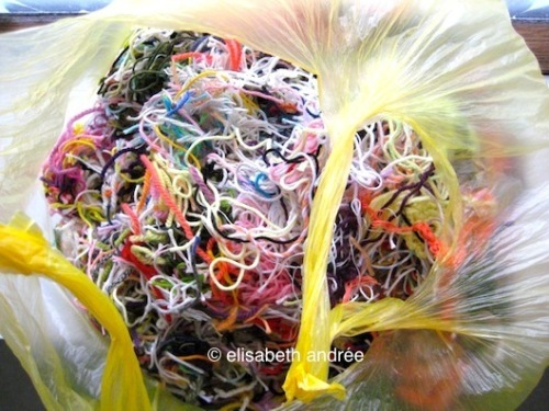 bag full of yarn ends - elisabeth andrée