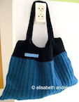 blue and black handbag