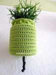 green crochet planthanger