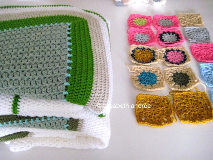 squares of leftover yarn