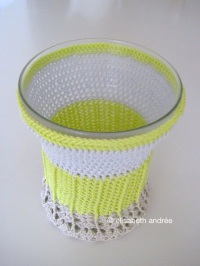 vase cover made of 3 colors mercerized cotton