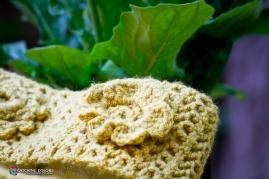 close up of crochet work