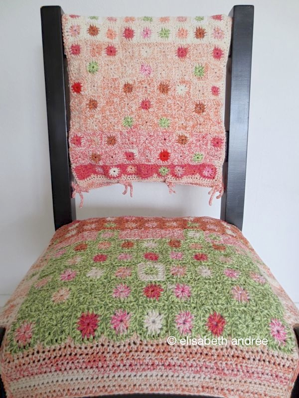 Small grannies project chair cover elisabeth andr e - Crochet chair cover pattern ...