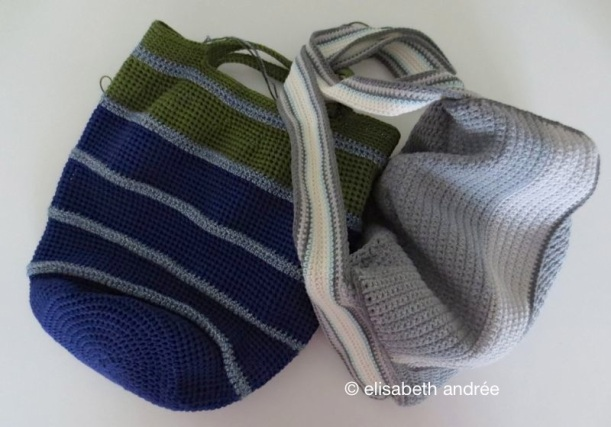 two bags in progress by elisabeth andrée