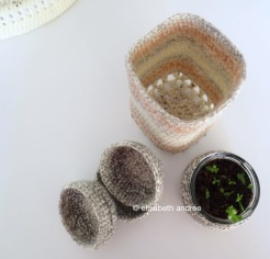 crochet mini bowls and container
