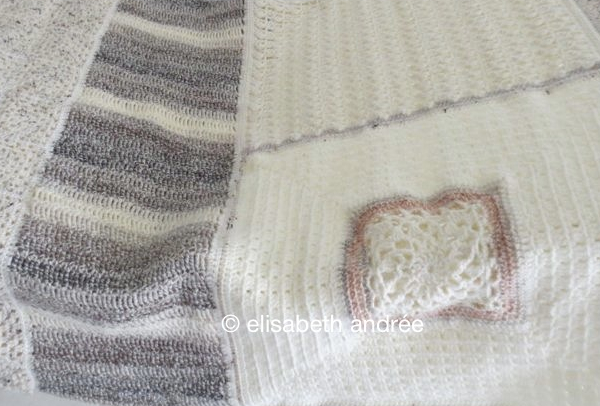 melange blanket and variegated yarn