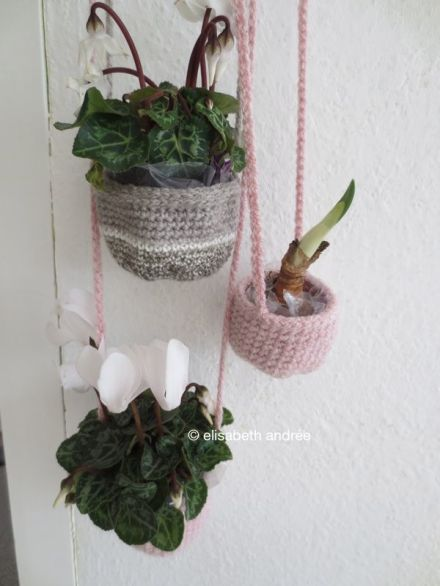 crochet baskets and plants