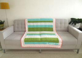 crochet strips in blue green white