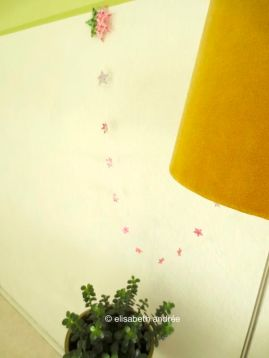 diy garland: paper, scissors, glue and sewing