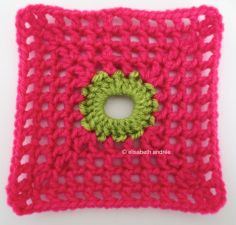lacy with dot square bright pink with green