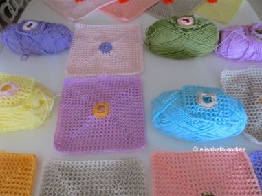 working on lacy with dot squares
