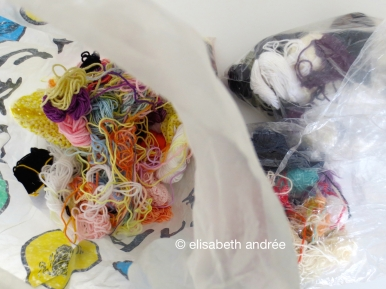 bags with leftover yarns