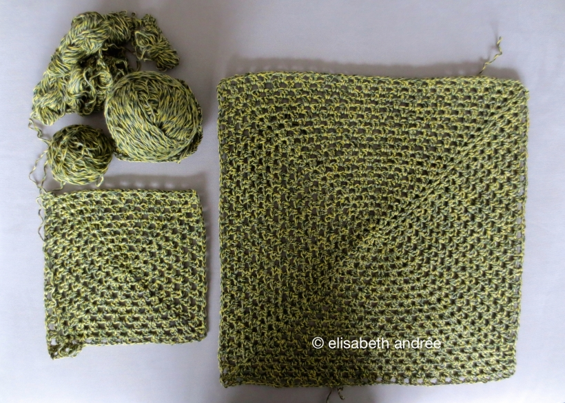 green squares of 2nd hand yarn