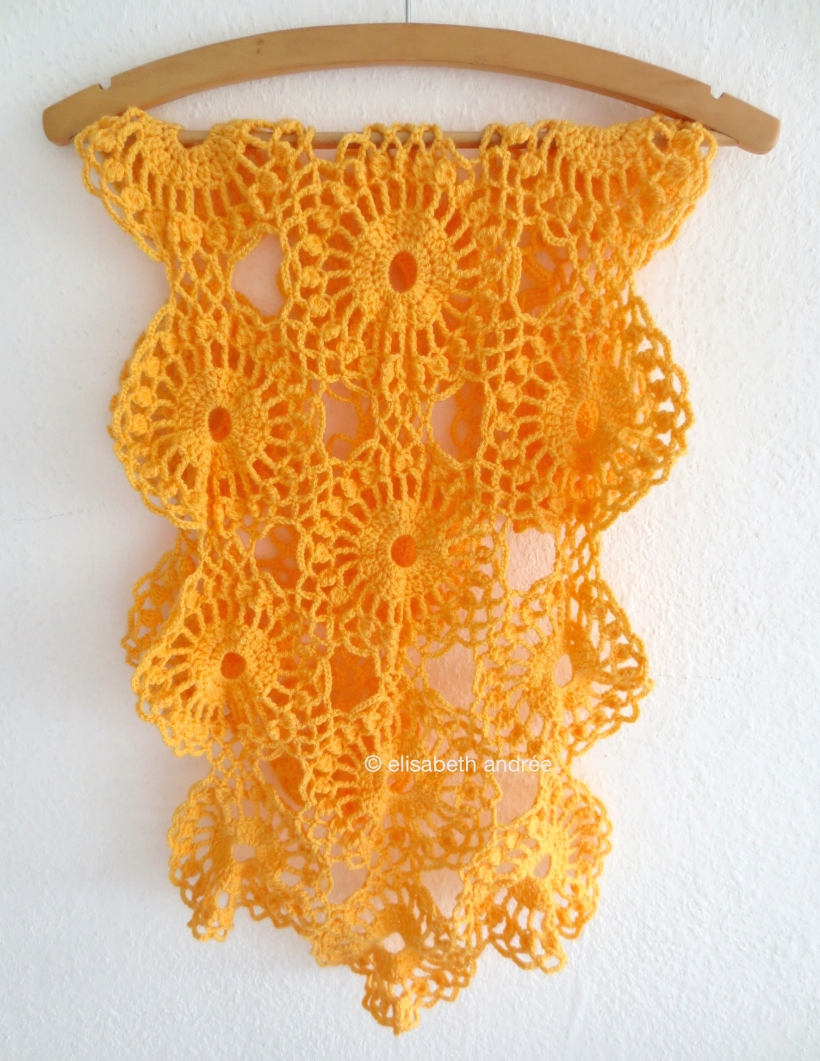 orange crochet work in progress