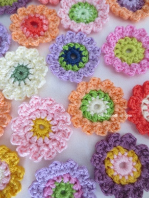 crocheted little flowers