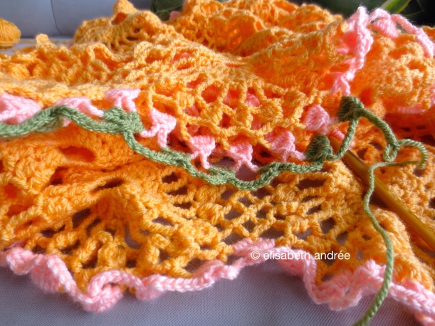crochet work in progress: the orange drape
