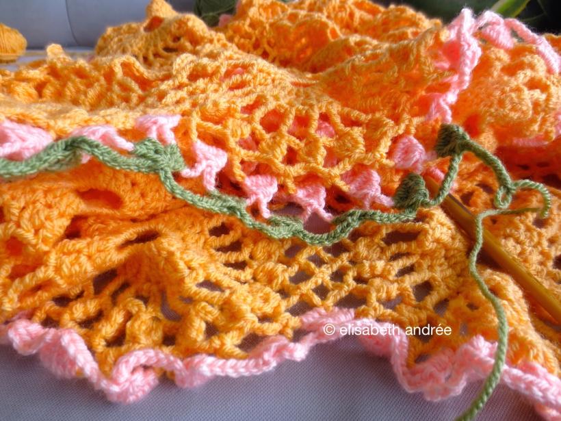crochet work in progress: the orange drape