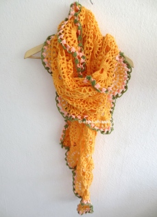 orange drape on clothes hanger