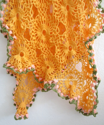 orange drape with diagonal ends