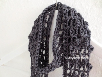 anthracite lacy summer scarf close up