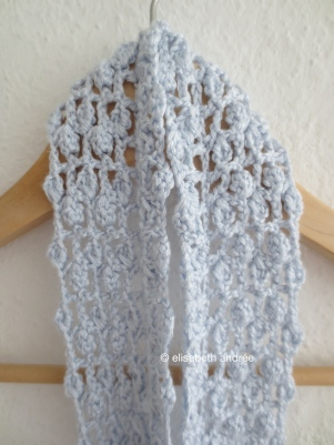 crochet lacy scarf with clusters