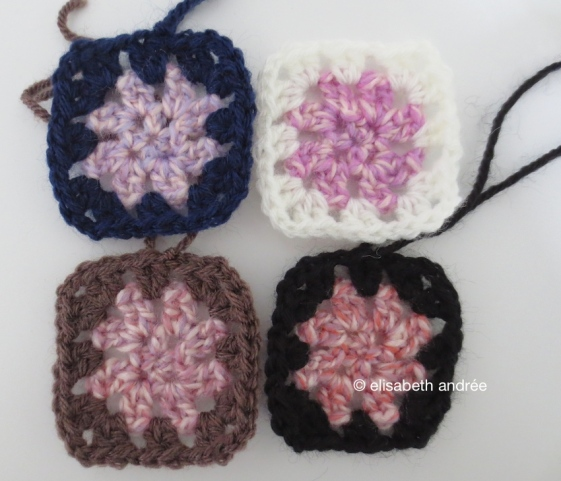 mini squares made of different shades of yarn