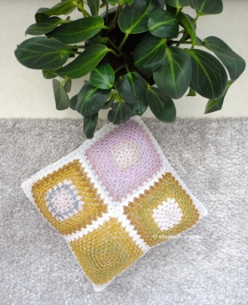 mustard yellow with lilac cushion cover side 1