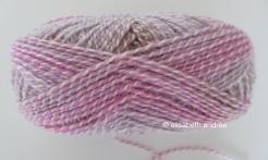 variegated yarn in pinkish and lilac-like shades