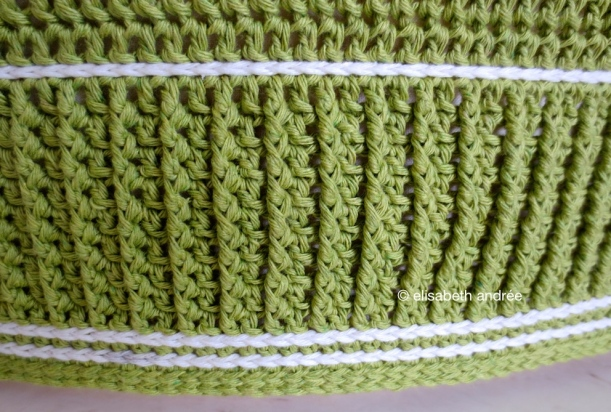 green crochet pouf cover side and edge