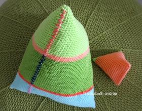 large and tiny crochet pyramids