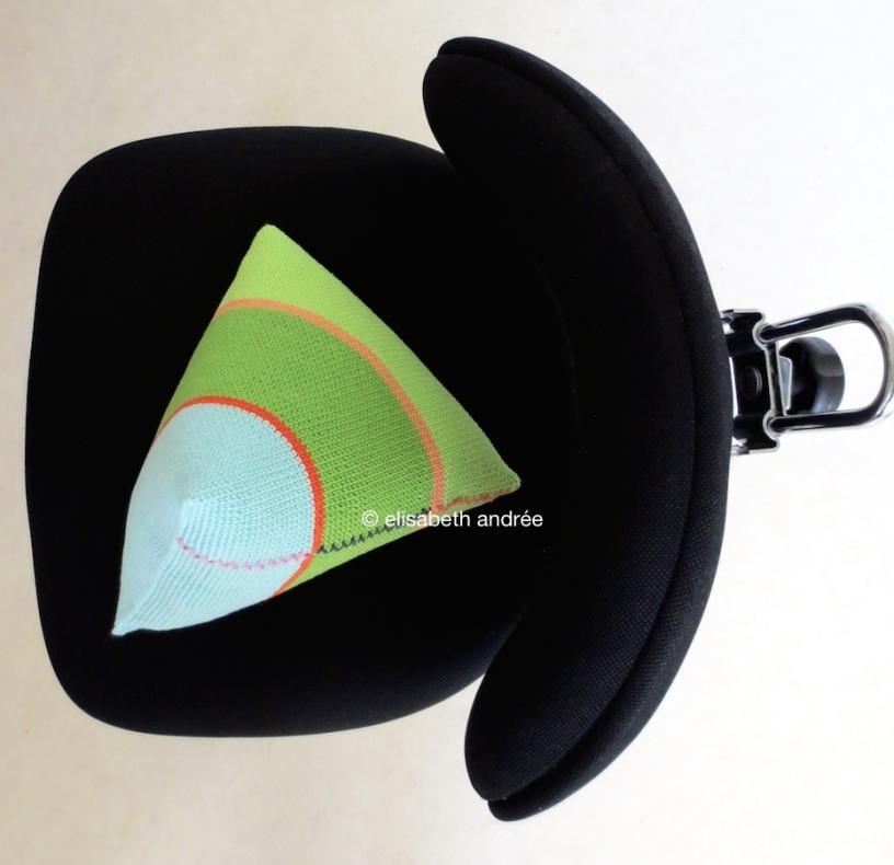 crochet pyramid shape on desk chair