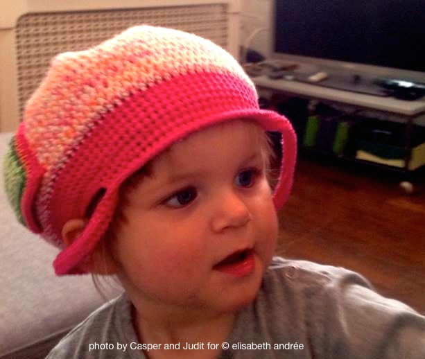 Sofie-Fleur with crochet bag on her head August 2014