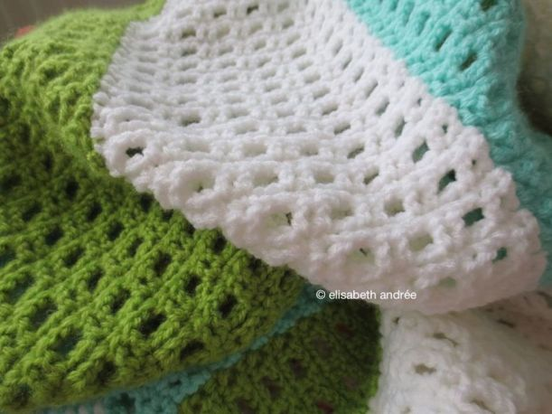crochet strips blue green white by elisabeth andrée