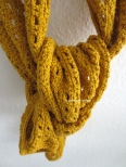 mustard yellow scarf knotted