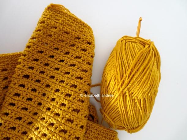 wip crochet mustard yellow scarf
