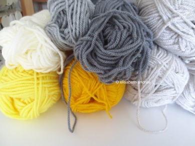 yellow and gray yarn leftovers