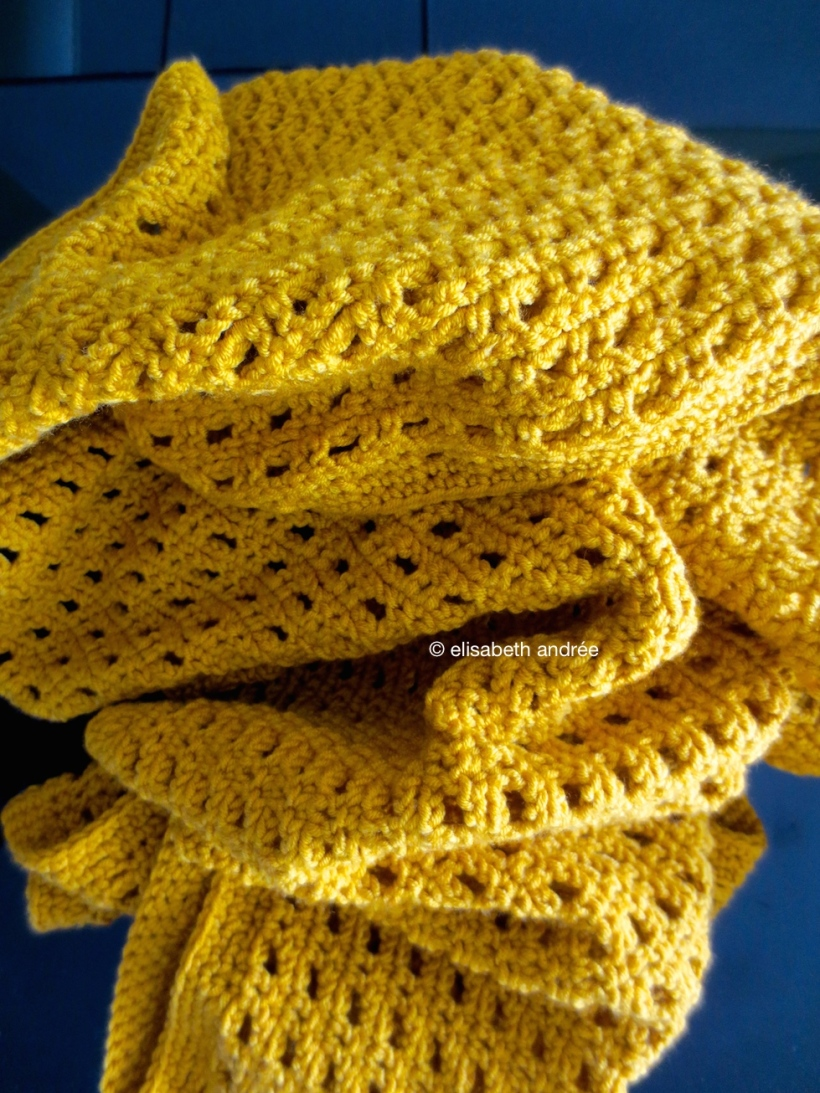mustard yellow crochet scarf by elisabeth andrée