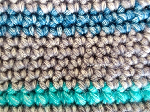 close up of crochet case wip
