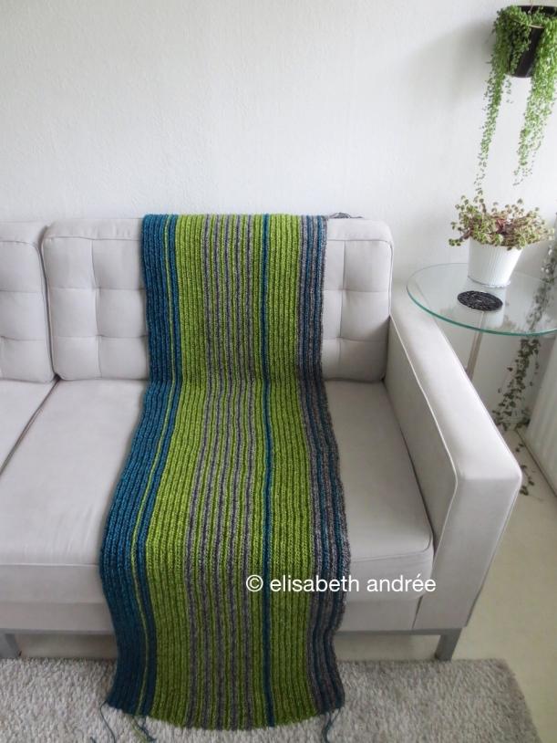 wip crochet blanket of variegated yarn