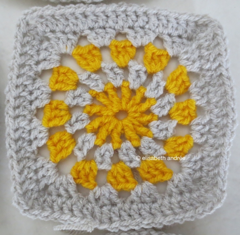 wip yellow and greige crochet square by elisabeth andrée