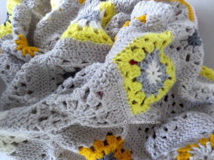 yellows and grays crochet blanket almost finished