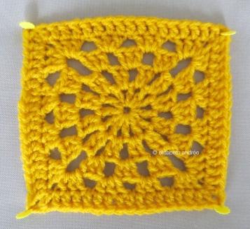yellow crochet test square