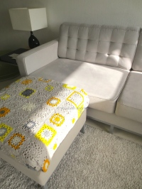 yellows and grays square crochet blanket