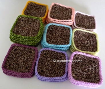 crochet squares of brown variegated yarn