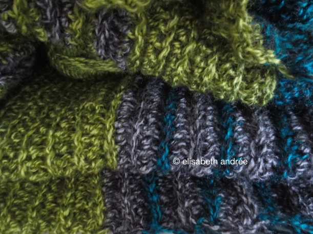 work in progress crochet blanket of variegated yarn by elisabeth andrée