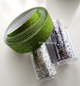 glitters and green glitter tape