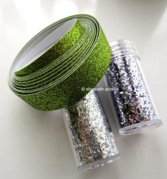 glitters and green glitter tape