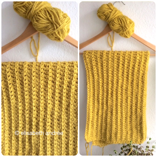 work in progress yellow crochet shrug by elisabeth andrée