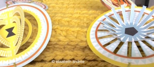 yellow katia stitches close up